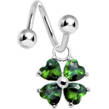 Emerald Green Gem HEART SHAMROCK Spiral Twister Belly Ring | Body Candy Body Jewelry