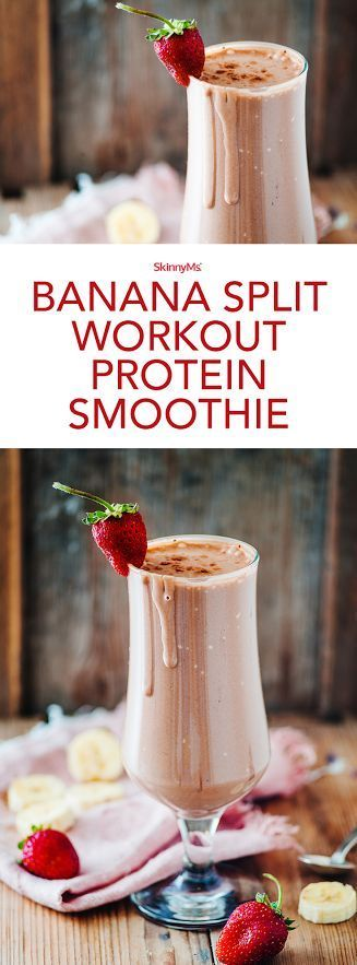 Because seriously, who doesnt love the flavors of a banana split?! - Banana Split Workout Protein Smoothie