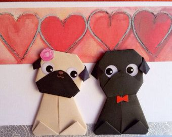 Origami Pug Valentine Card Handmade Birthday Card by JollyCards