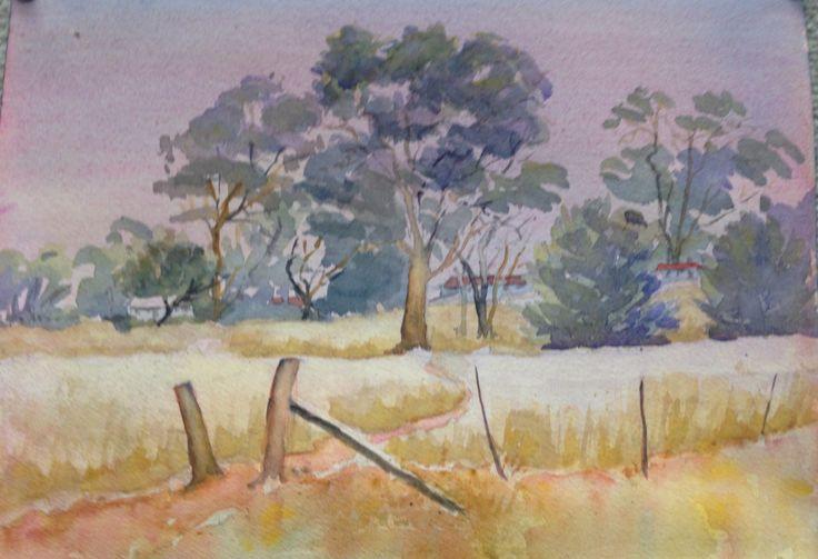 Landscape in watercolour near Keith in S. A.