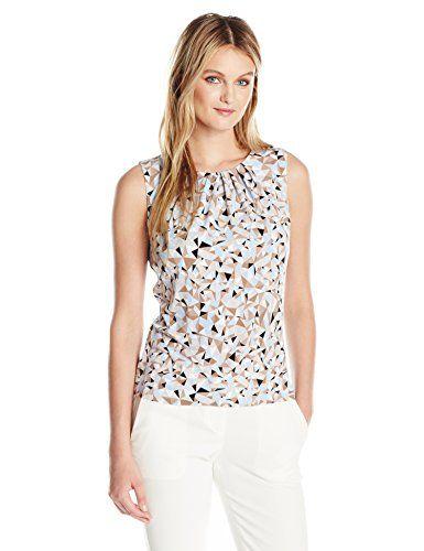 Calvin Klein Women's Matte Jersey Sleeveless Pleat Neck Cami in Abstract Print - http://www.darrenblogs.com/2017/03/calvin-klein-womens-matte-jersey-sleeveless-pleat-neck-cami-in-abstract-print/