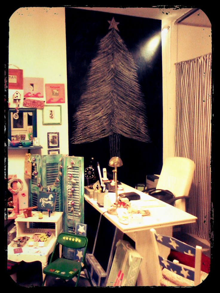 Christmas tree on blackboard,at the store!