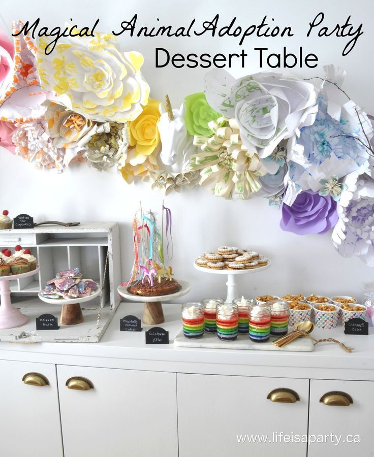 Magical Animal Adoption Agency Party -A beautiful Rainbow and Unicorn Dessert Table for a Magical Animal Adoption Agency Children's Books themed party.