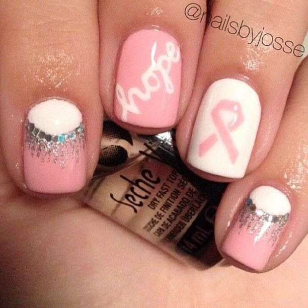 Breast cancer awareness month nail art | Fun Nails | Pinterest