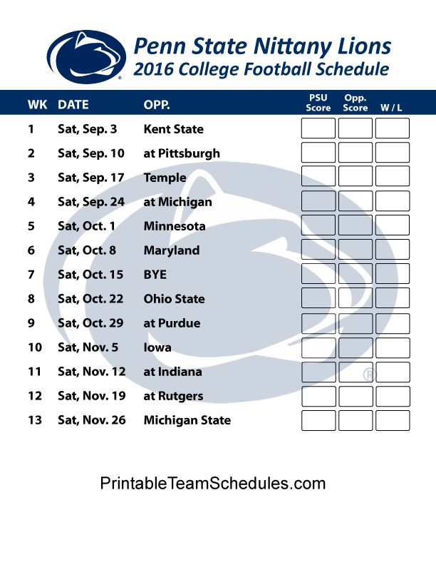 Wild image with regard to penn state football schedule printable