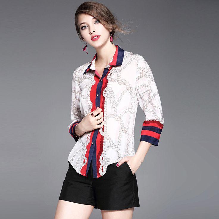 2017 Women Tops Spring Summer Three Quarter Sleeve Fashion Print Silk T-Shirts
