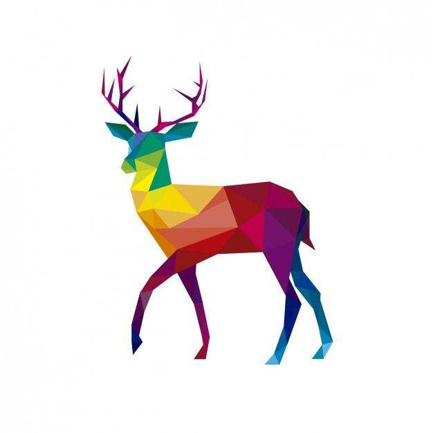 Polygonal deer illustration Free Vector