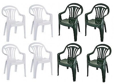 Set Of 4 Plastic Garden Patio Chairs Low Back Stacking Armchair Green    WhiteBest 25  Plastic garden chairs ideas on Pinterest   Cushions for  . Green Plastic Stack Chairs. Home Design Ideas