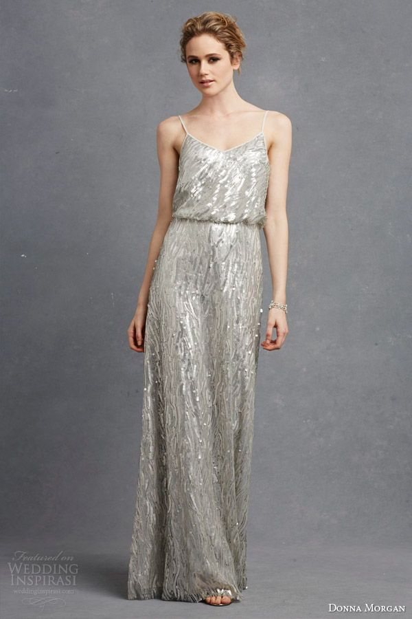 donna morgan bridesmaid courtney dress metallic sequin silver blouson sleeveless dress straps