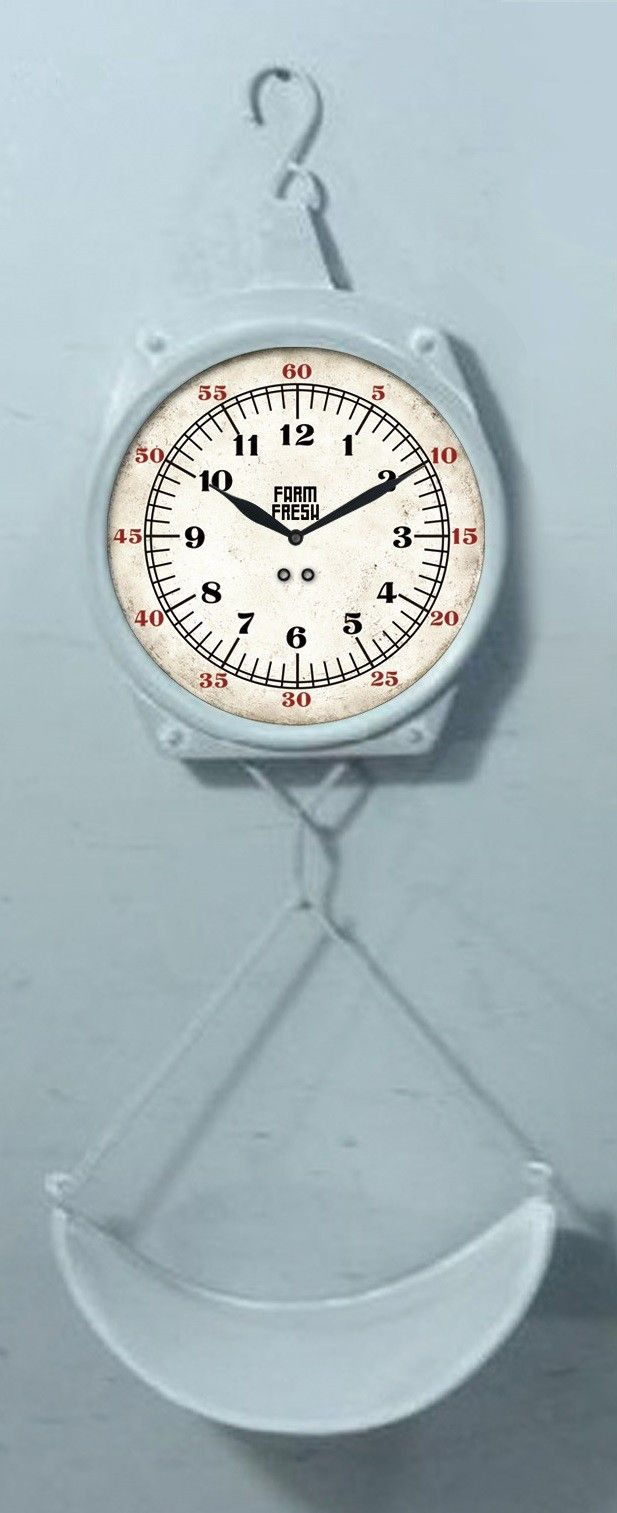 Farm to Table Metal Hanging Replica Weight Scale Wall Clock