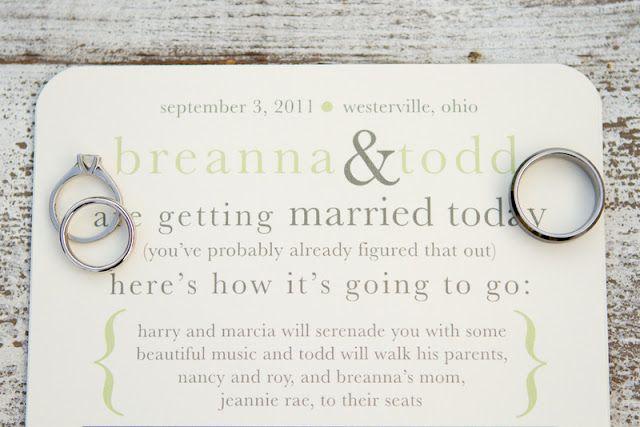 love the order of eventsNon Stuffy Programs, Diy Ideas, Wedding Programs, Nonstuffi Programs, Budget Friends Diy, Real Wedding, Fun Programs, Barns Wedding, Programs Ideas