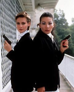 A VIEW TO A KILL Villains. Jenny Flex played by Alison Doody and Pan Ho played by Papillon Soo.
