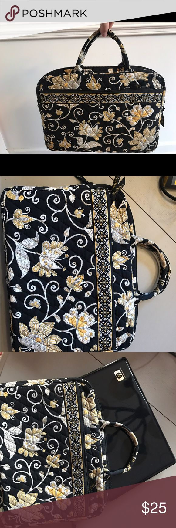 Vera Bradley laptop bag Black, yellow, and white floral pattern, front zipper pocket, holds 13.5 inch mac book pro, lightly used Vera Bradley Bags Laptop Bags