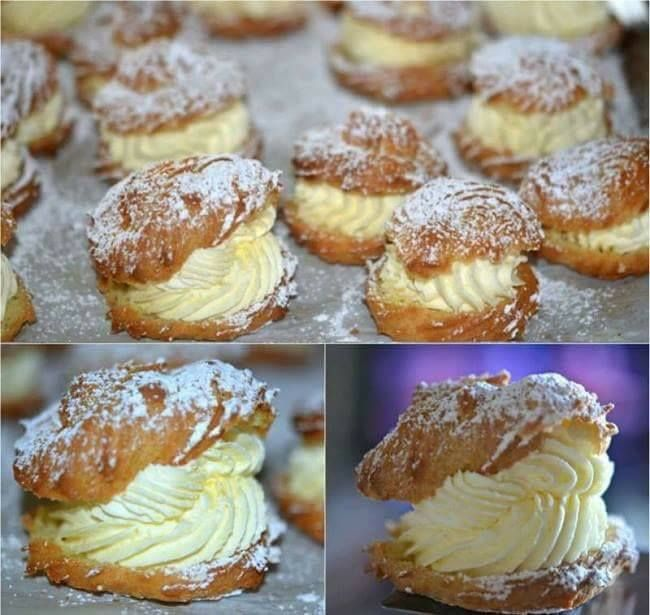 Ingredients: 1 stick butter (8 Tablespoons) 1 cup water 1 tsp vanilla 4 eggs 1c flour MOM'S FAMOUS FILLING: 1 pint heavy cream 1 package (3.4 OUNCES) instant vanilla pudding ⅓ cup milk Makes approx 16 Instructions: Bring the butter, water and vanilla to a boil. Add the flour and stir constantly …