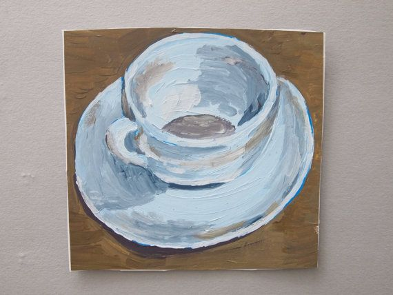 Small square acrylic painting on paper around 5 x 5 (approx 12 x 12 cm).  Small squarish painting on cartridge paper using acrylic paint. Shows a cup and saucer, a tea or coffee cup. Original painting not a print. Unframed. Mostly browns and greys with pale blue, white and cream colours. Domestic, kitchen still life. A little uneven in shape: might need trimming before framing. To be sent in robust packaging. Postage cost vary depending on your location. A signature will be needed for all…