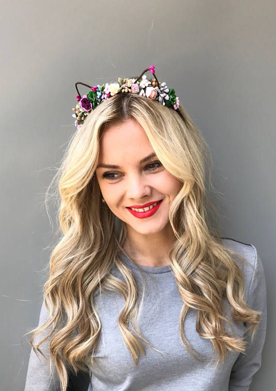 Cat Ears Head Band Floral Cat Ears Flower Cat Headband Flower Etsy Bridal Hair Clip Floral Hair Combs Flower Crown Hairstyle