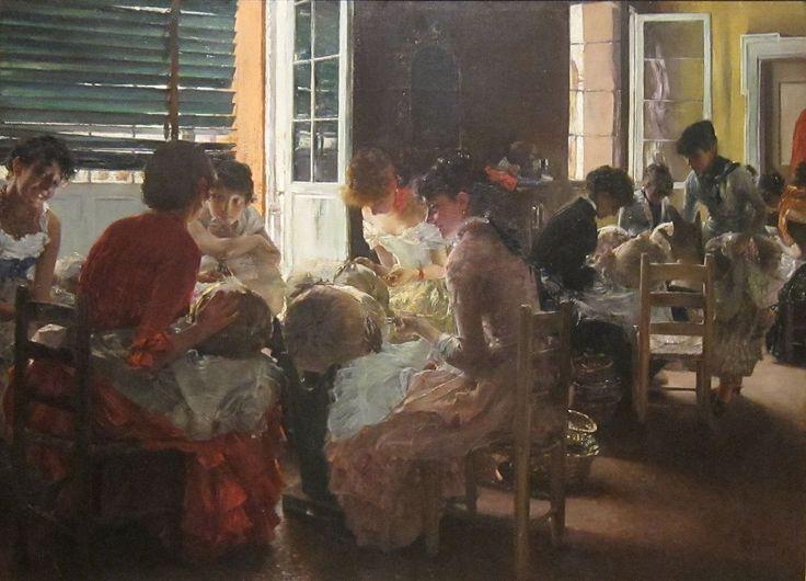 'Venetian Lacemakers' by Robert Frederick Blum, Cincinnati Art Museum - Bobbin lace - Wikipedia