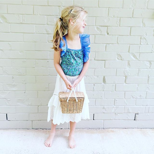 Love this little boho babe! Cruising through her Sunday in her Blue Wildflower Leotard and Birdie Maxi Skirt in Lace 😍 So easily casual! 📸 @pennypower_