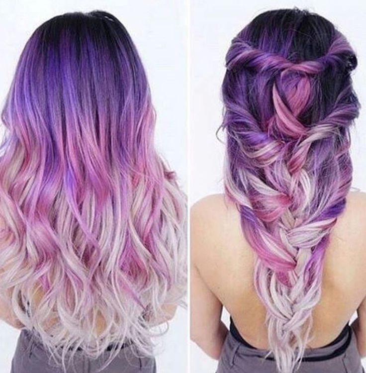 purple ombre hair Beauty: Fantasy Unicorn Purple Violet Red Cherry Pink yellow Bright Hair Colour Color Coloured Colored Fire Style curls haircut lilac lavender short long mermaid blue green teal orange hippy boho ombré woman lady pretty selfie style fade makeup grey white silver trend trending multi confetti Pulp Riot