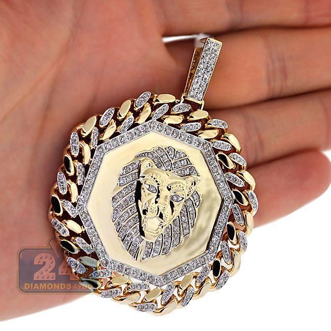 Mens 3 63 Carat Diamond One Of A Kind Cuban Link Framed Lion Pendant 10k Yellow Gold Gold Chains For Men Unique Pendant Necklace White Gold Pendants