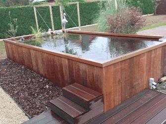 Verhoogde vijver google zoeken waterpartij pinterest for Houten vijverbak