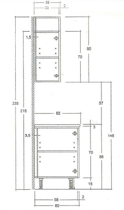 Размеры шкафов и тумб.