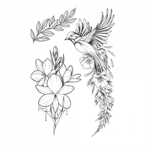 Bird and Flower Temporary Tattoo Art Bird of Happiness Temporary Tattoo. Waving …