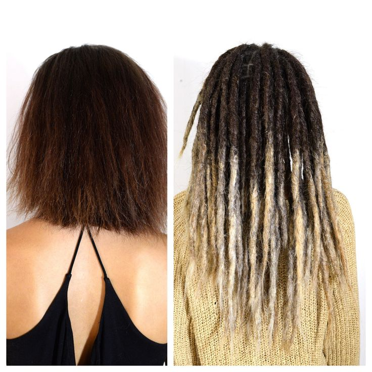 Here is a before and after shot of Linnéas dreadlock transformation.