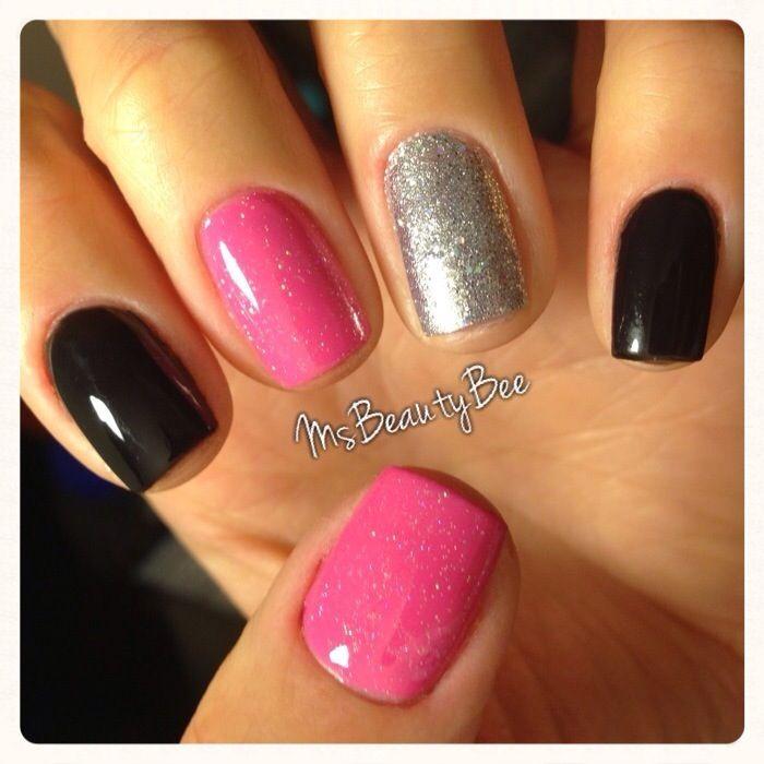 black, pink, and sliver nail art design