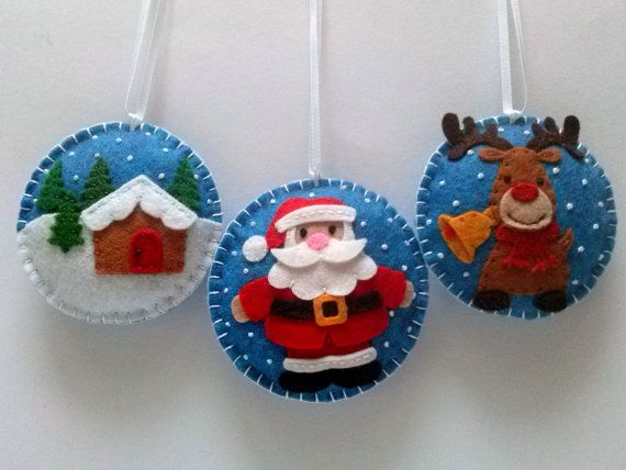 Felt christmas ornaments - set of 3 santa clause, brown reindeer, christmas village / wool blend felt/ blue background