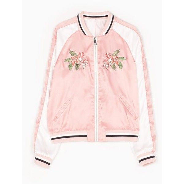 Satin bomber jacket with embroidery detail ❤ liked on Polyvore featuring outerwear, jackets, embroidered jacket, bomber style jacket, blouson jacket, pink bomber jacket and flight jacket