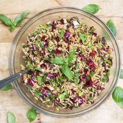 Mediterranean Orzo Pasta Salad Recipe - beautiful, healthy, delicious - perfect with anything grilled. Step by step instructions.