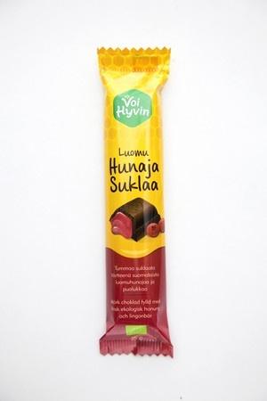 Voi hyvin -puolukkahunajasuklaa on upea makuyhdistelmä vahvanmakuista tummaa suklaata, raikasta puolukkaa ja pehmeää hunajaa.