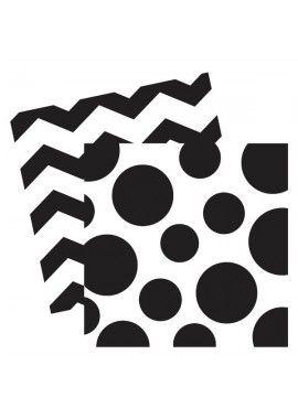 Chevron Dots servet zwart wit
