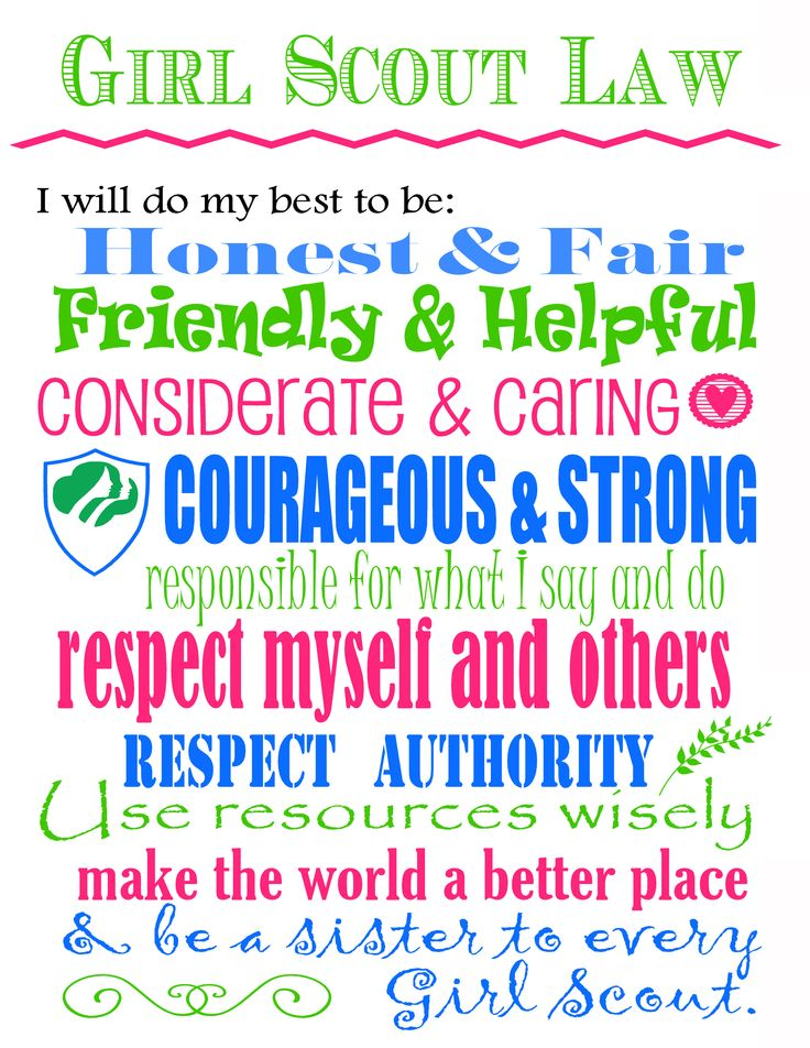 The Girl Scout Law printable
