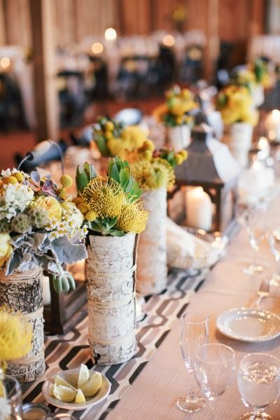 Rustic birch centerpieces: http://www.stylemepretty.com/2014/03/03/fall-wedding-at-sycamore-farm-bloomington/ | Photography: Todd Pellowe - http://tpellowe.com/