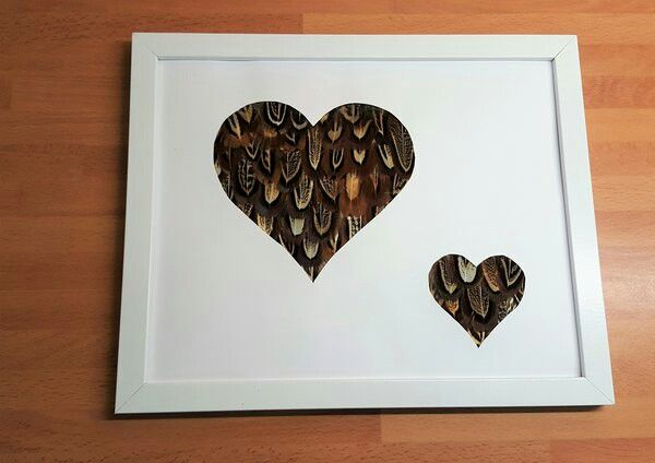 pheasant feather love heart silhouettes. perfect valentines gift  http://countrycraftybits.co.uk/