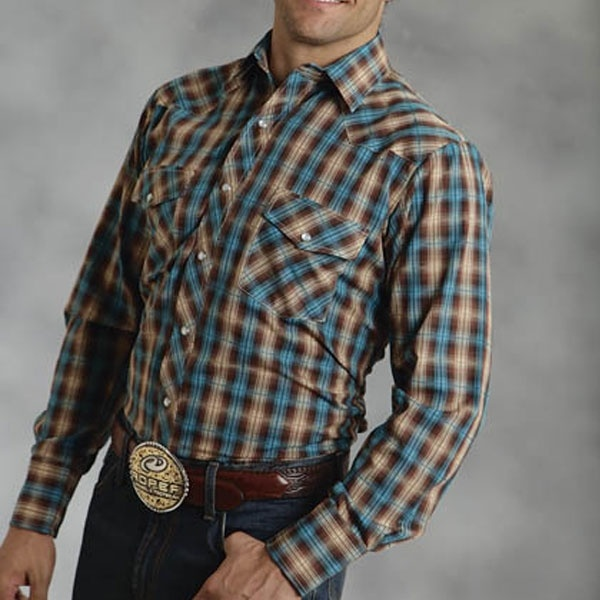 Roper Brown and Turquoise Long Sleeve Shirt 32.95