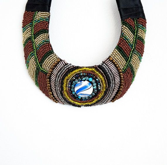 A new look :Egyptian bead embroidery necklace ethnic by HandmadebyIru on Etsy, €45.00