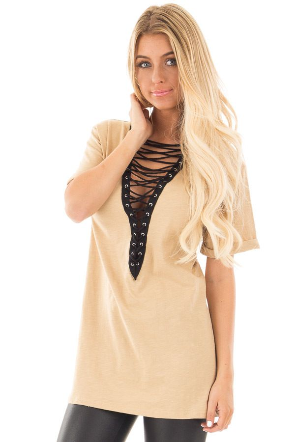 Lime Lush Boutique - Beige Short Sleeve Top with Lace Up V Neck , $36.99 (https://www.limelush.com/beige-short-sleeve-top-with-lace-up-v-neck/)