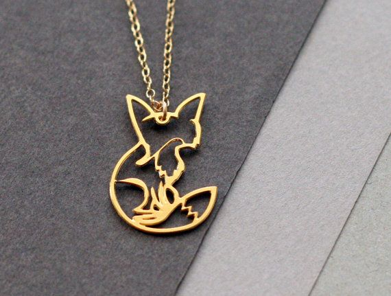 fox necklace fox jewelry fox pendant golden fox by WildThingStudio