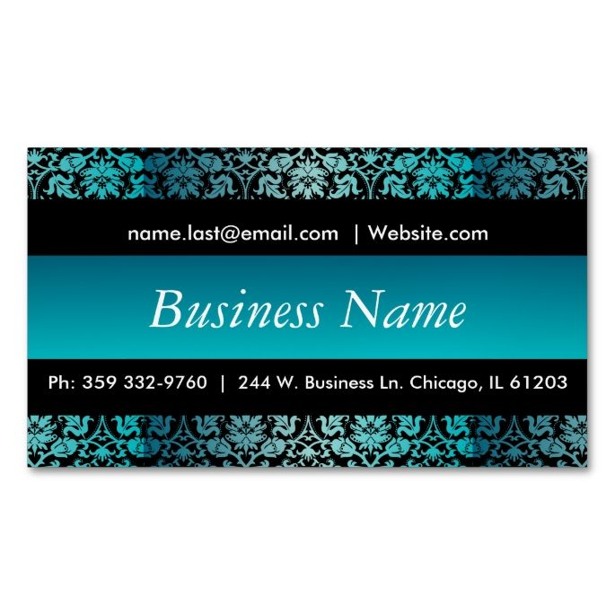 Elegant Black and Turquoise Damask Design Magnetic Business Cards (Pack Of 25). I love this design! It is available for customization or ready to buy as is. All you need is to add your business info to this template then place the order. It will ship within 24 hours. Just click the image to make your own!