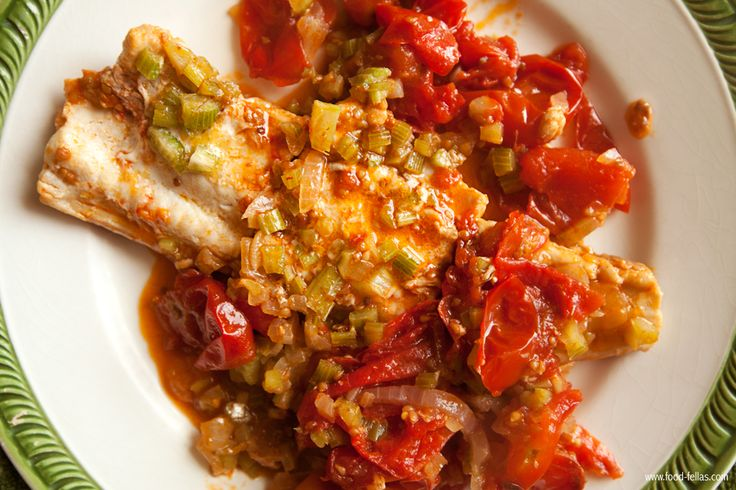 Grey Smoothhound Shark with celery and tomatoes