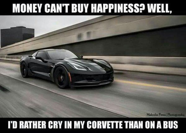 money can 39 t buy happiness but it can buy a corvette car memes and infographics pinterest. Black Bedroom Furniture Sets. Home Design Ideas
