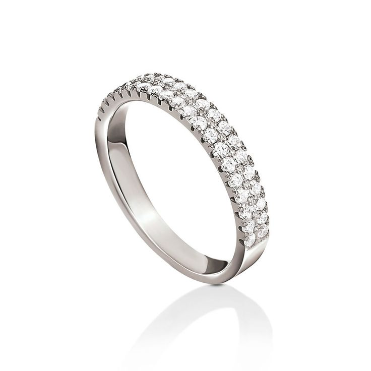 45€ Fashionably Silver Essentials Rhodium Plated Two Rows Band Ring