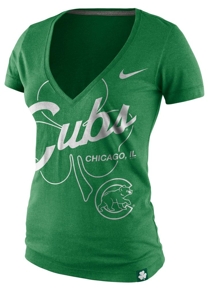 Chicago Cubs Women's St. Patrick's Day Deep V Blend Tee by Nike | Sports World Chicago $31.95  @Chicago Cubs #ChicagoCubs