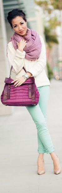 Violet Infinity Scarf, satchel, cream jacket, green skinny pants - Spring Colors