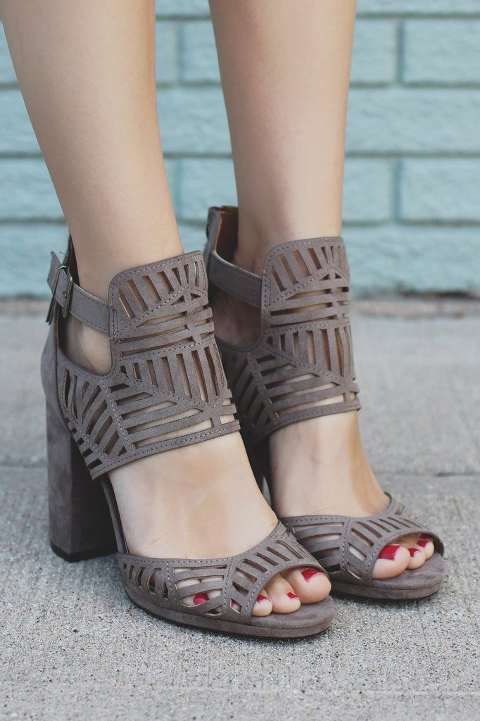 Taupe Perforated Buckle Accent Peep Toe Heels