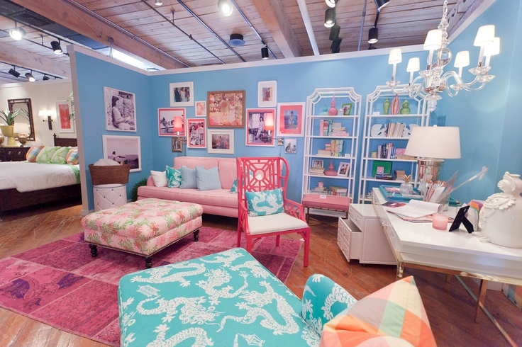 lilly pulitzer furnitureDreams Bedrooms, Beautiful Decor, Bright Pink, Bedrooms Lilly Pulitzer, Furniture Showroom, Room Decor, Art Lilly, Future House, Pulitzer Furniture