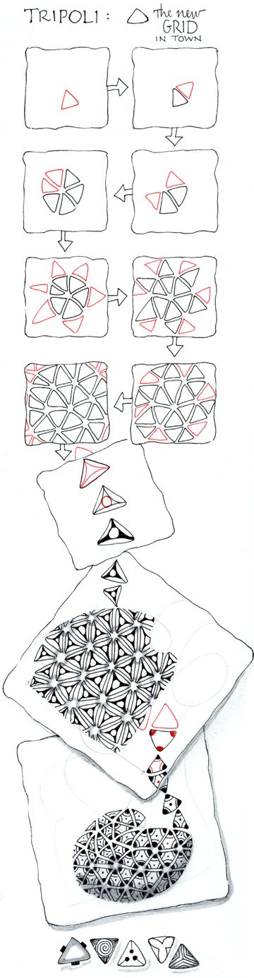 "tripoli  This tangle is one of a rare ""species"" in our zentomology of tangles. Its basic structure is a malleable tessellation, but  tripoli takes things a bit further. It's not just tiling adjacent triangles - a delightful tangle in itself - but what you then do within and between those triangles that yields amazingly different and fun results."
